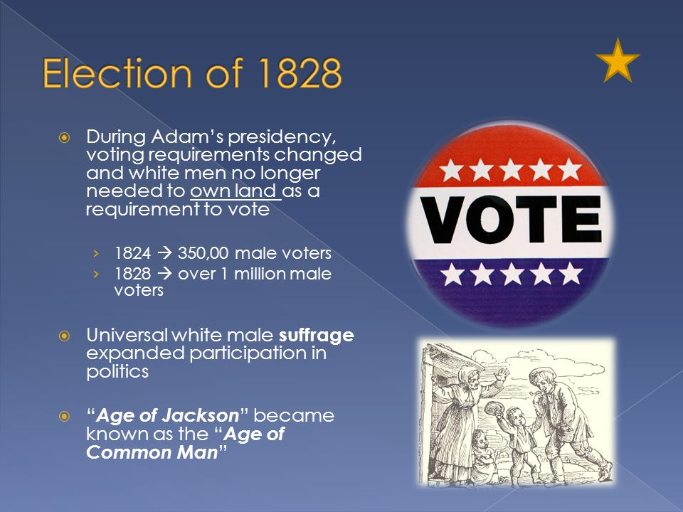 Election of 1828 During Adam's presidency, voting requirements changed and white men no longer needed to own land as a requirement to vote.