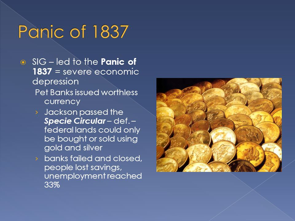 Panic of 1837 SIG – led to the Panic of 1837 = severe economic depression. Pet Banks issued worthless currency.