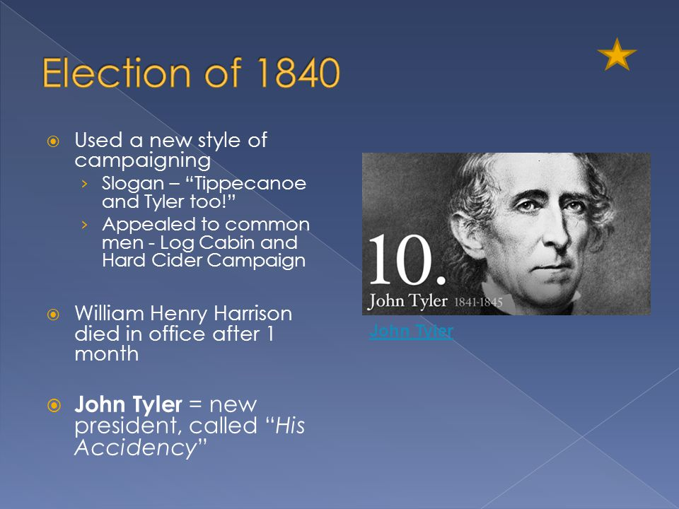 Election of 1840 John Tyler = new president, called His Accidency
