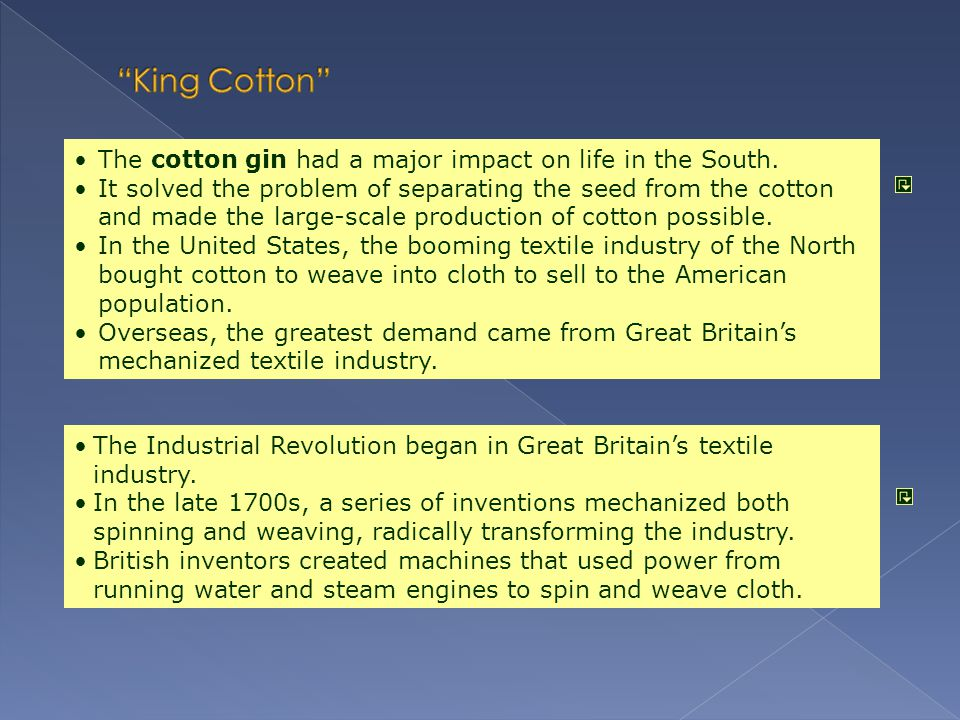 King Cotton The cotton gin had a major impact on life in the South.