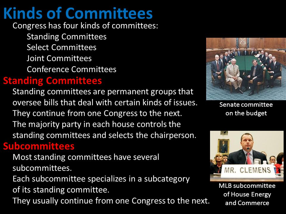 Kinds of Committees Standing Committees Subcommittees