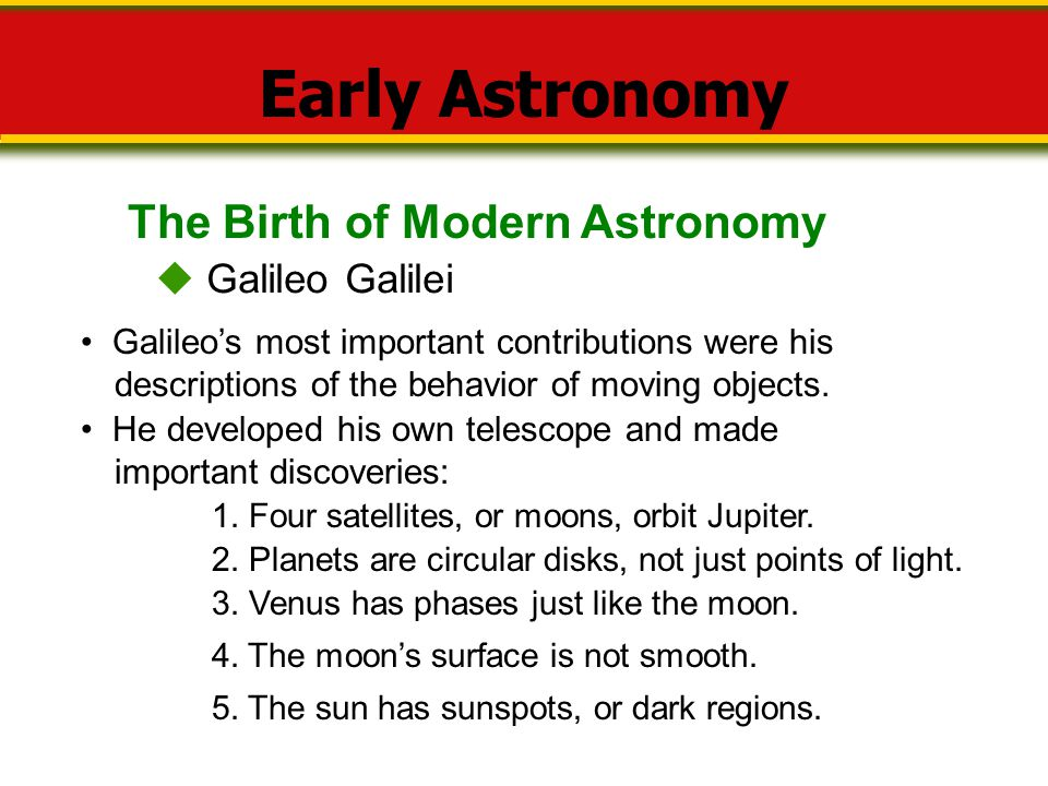 Early Astronomy The Birth of Modern Astronomy  Galileo Galilei
