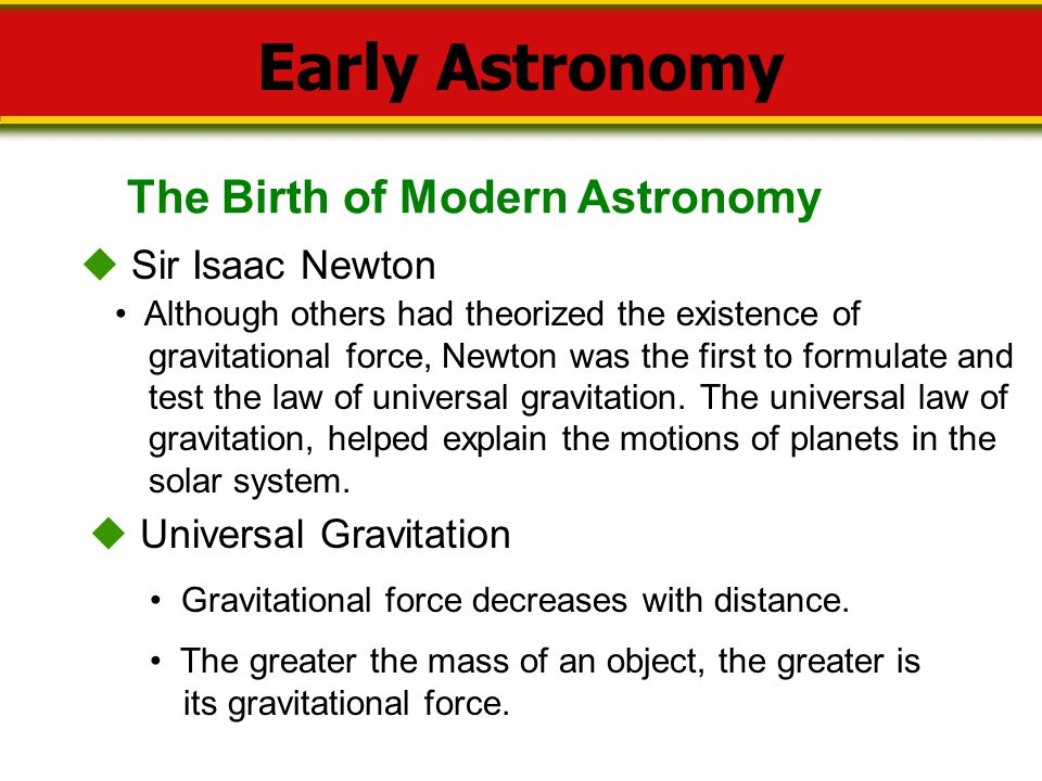 Early Astronomy The Birth of Modern Astronomy  Sir Isaac Newton