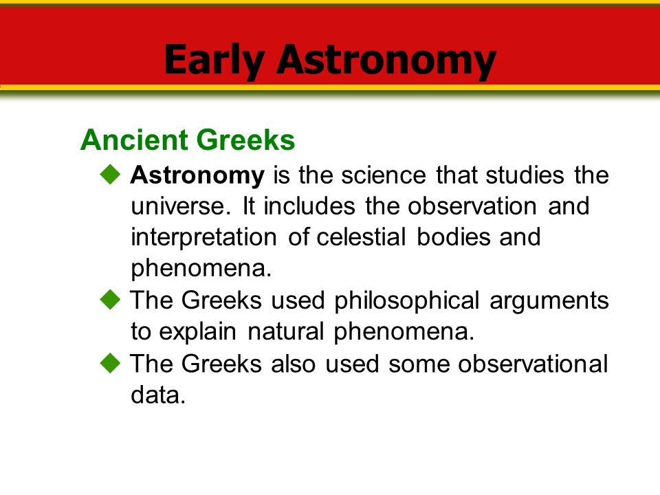 Early Astronomy Ancient Greeks