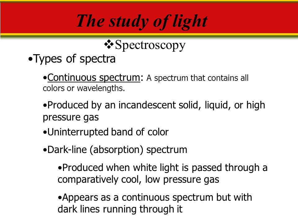 The study of light Spectroscopy Types of spectra