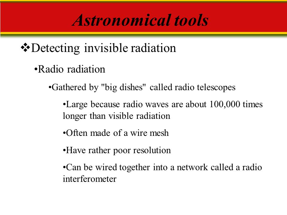 Astronomical tools Detecting invisible radiation Radio radiation