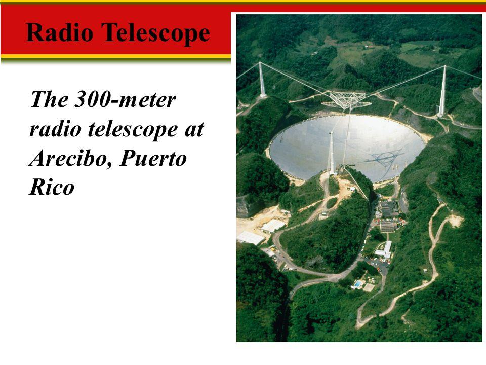 Radio Telescope The 300-meter radio telescope at Arecibo, Puerto Rico