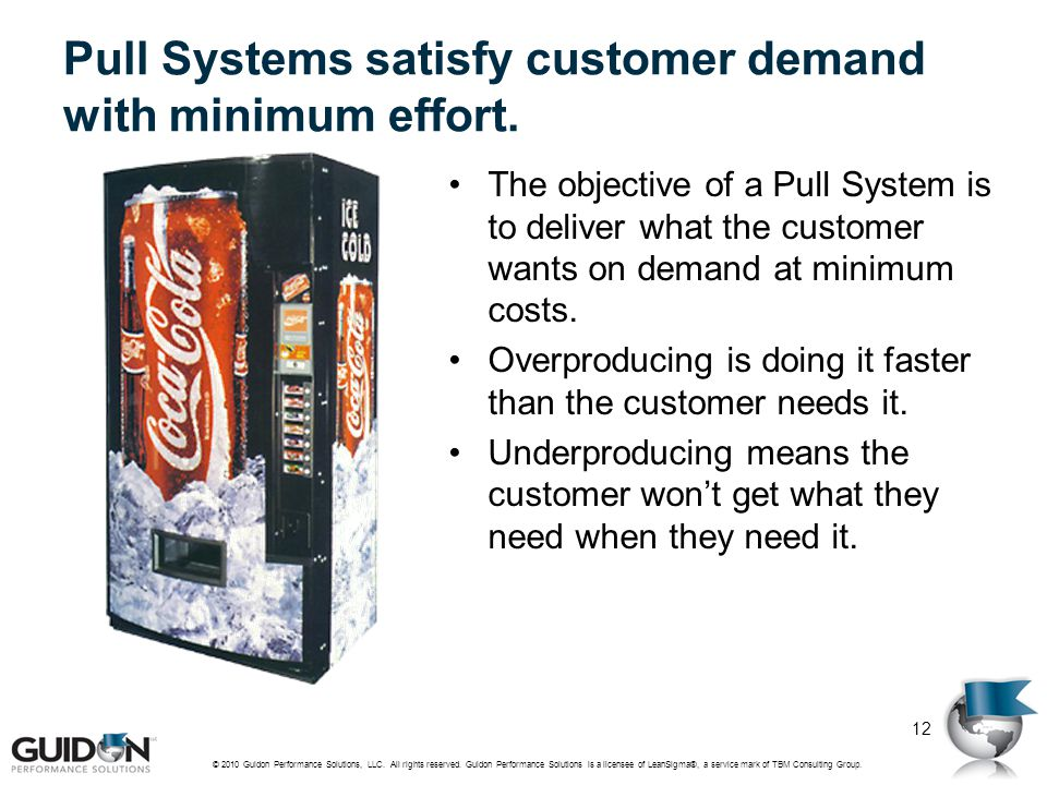 Pull Systems satisfy customer demand with minimum effort.