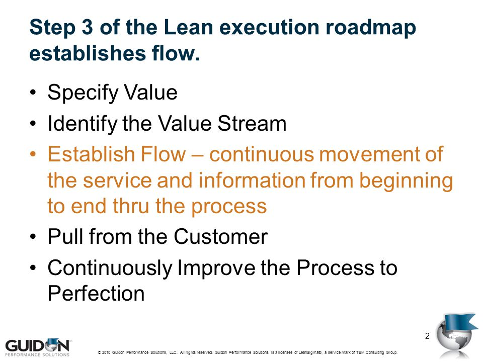 Step 3 of the Lean execution roadmap establishes flow.