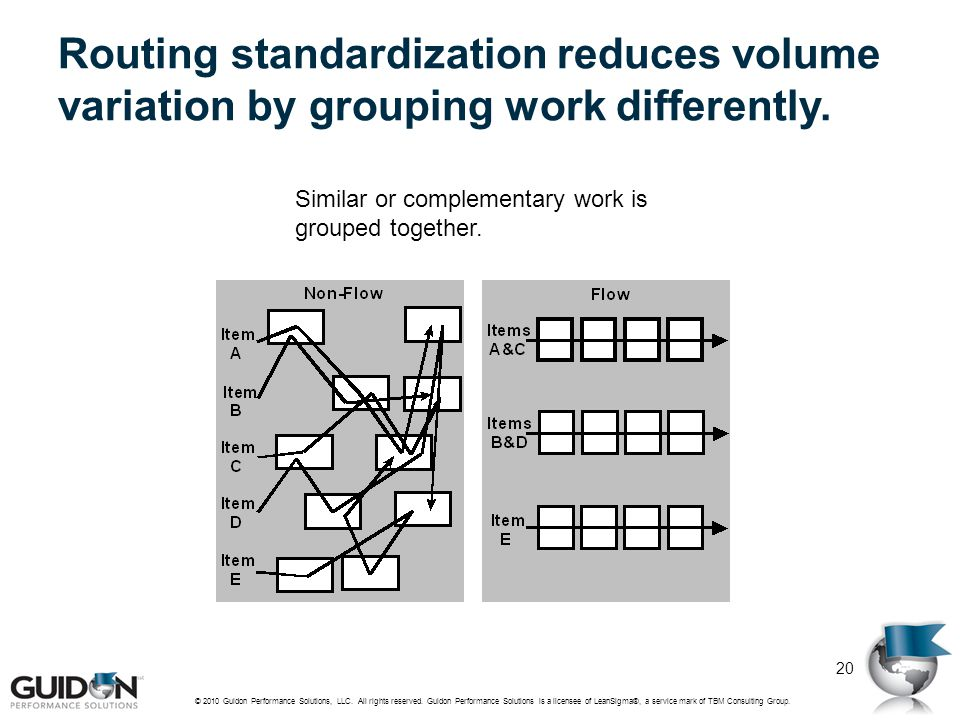 Routing standardization reduces volume variation by grouping work differently.