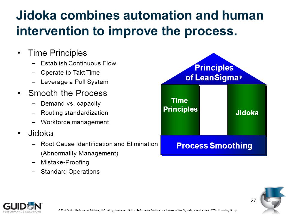 Jidoka combines automation and human intervention to improve the process.