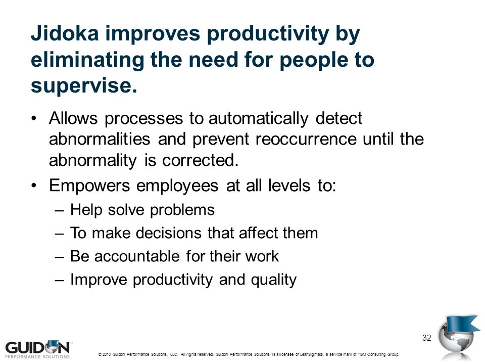 Jidoka improves productivity by eliminating the need for people to supervise.