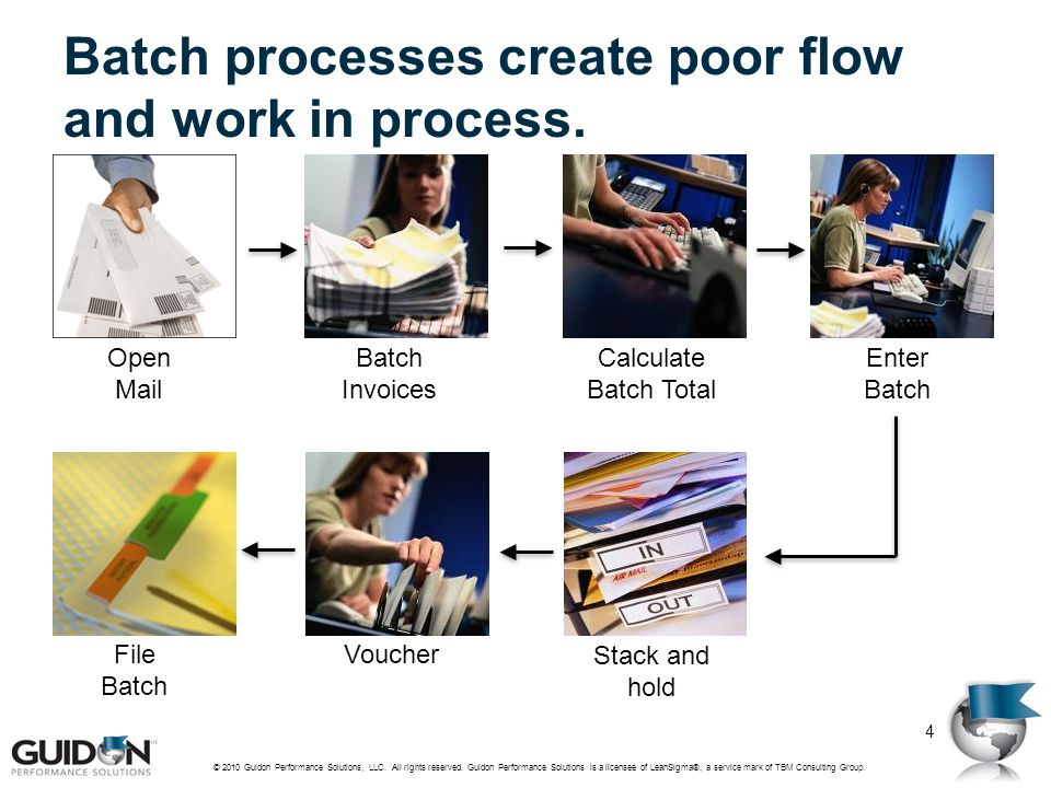 Batch processes create poor flow and work in process.