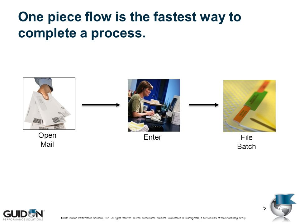 One piece flow is the fastest way to complete a process.