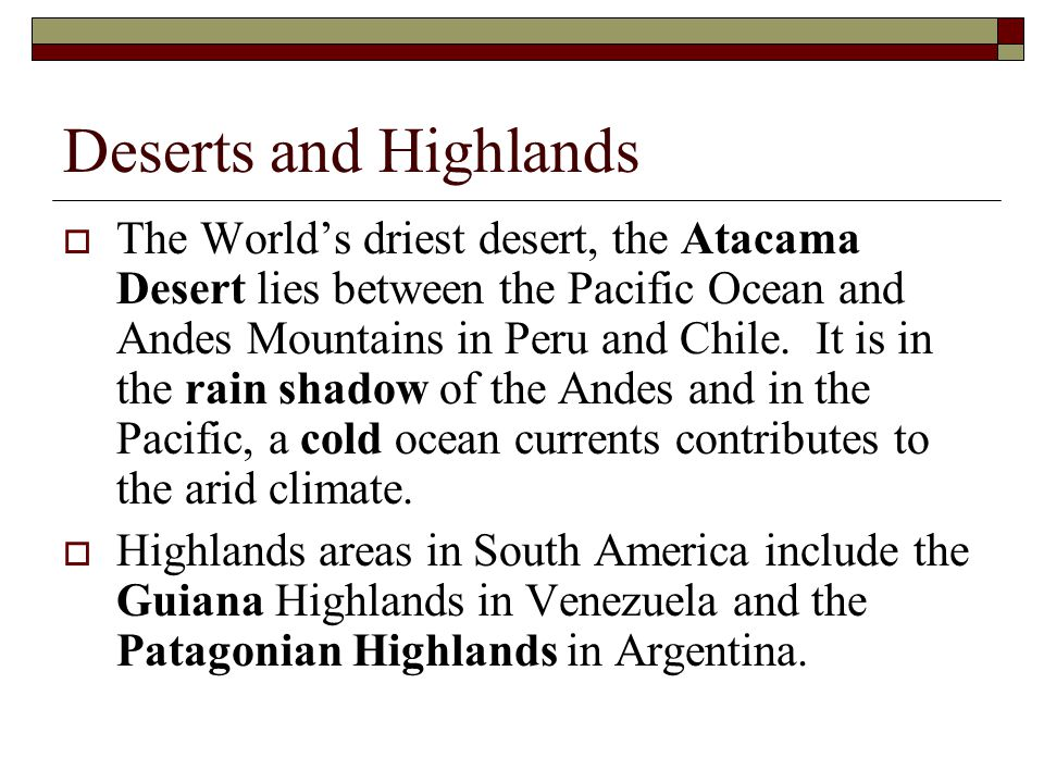 Deserts and Highlands