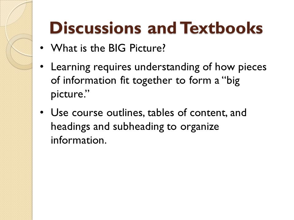 Discussions and Textbooks