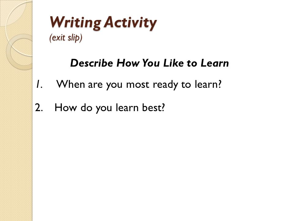 Writing Activity (exit slip)