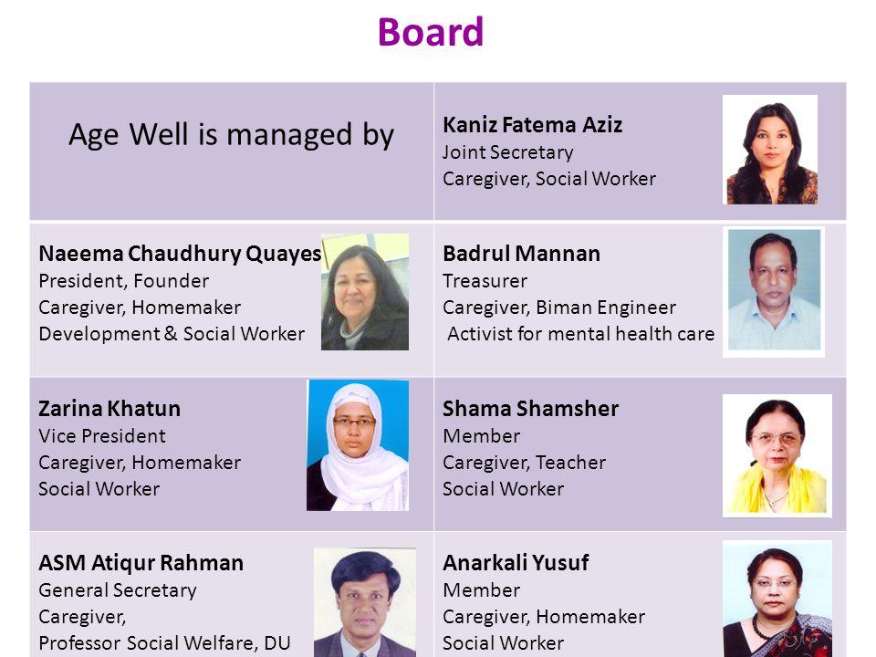 Board Age Well is managed by Kaniz Fatema Aziz Naeema Chaudhury Quayes