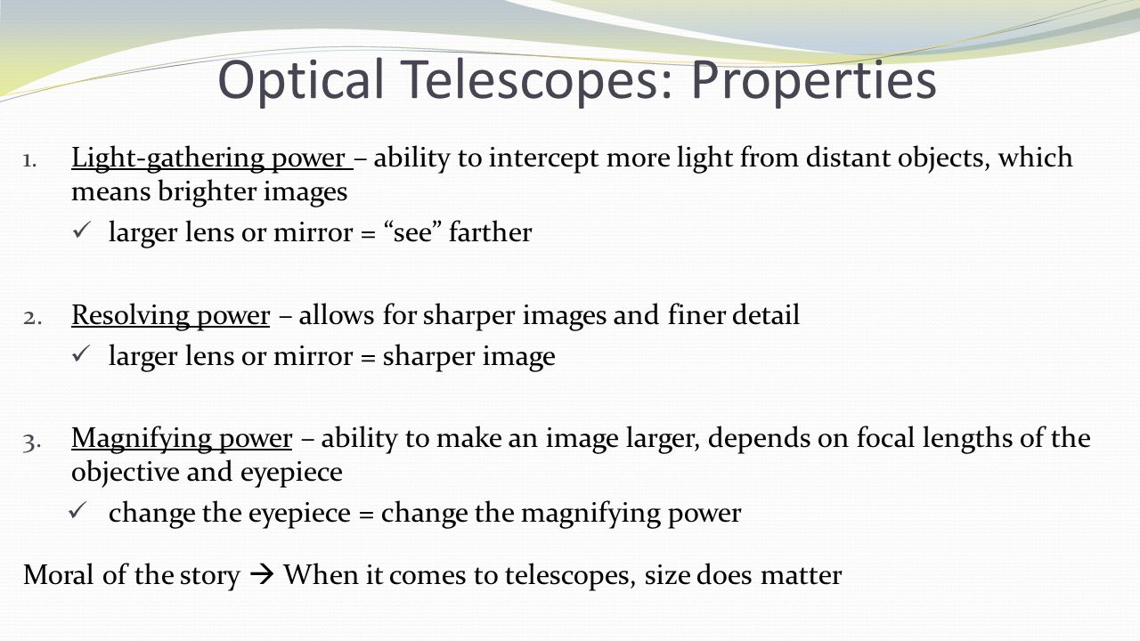 Optical Telescopes: Properties