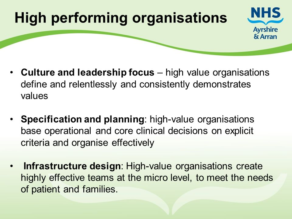 High performing organisations