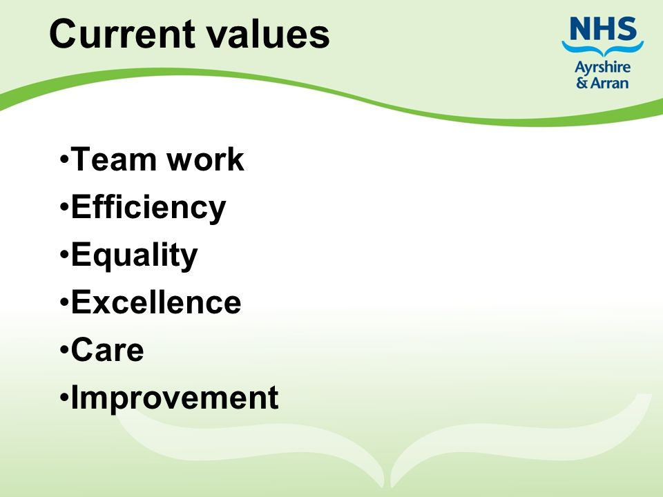 Team work Efficiency Equality Excellence Care Improvement