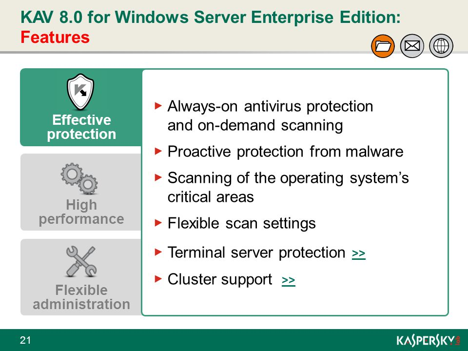 KAV 8.0 for Windows Server Enterprise Edition: Features