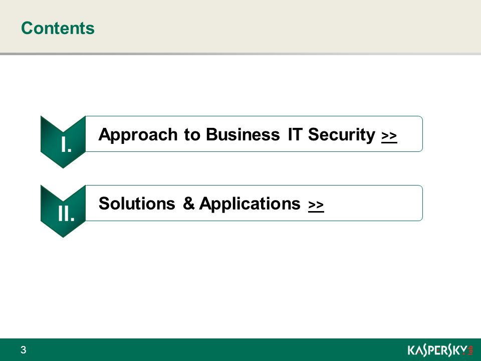 Ι. ΙΙ. Contents Approach to Business IT Security >>