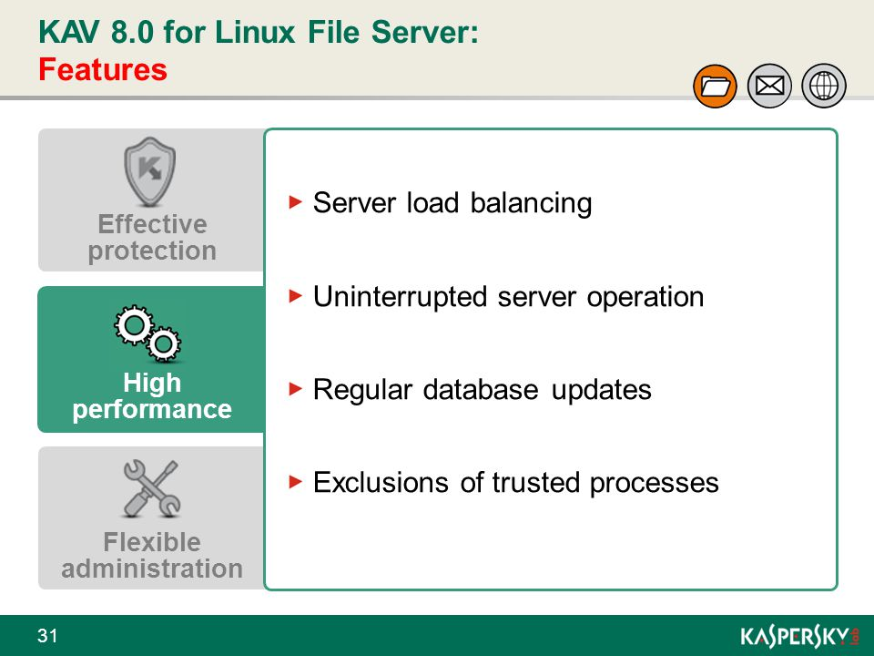 KAV 8.0 for Linux File Server: Features