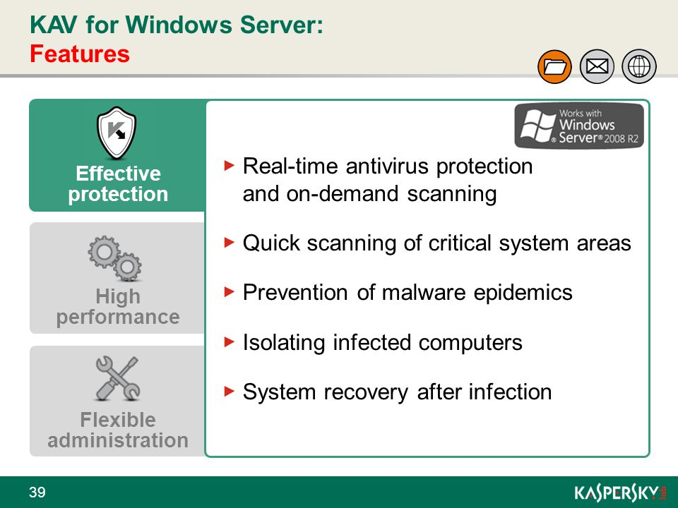 KAV for Windows Server: Features