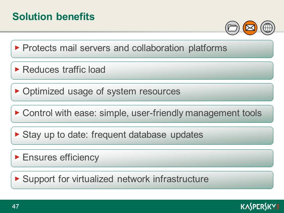 Solution benefits Protects mail servers and collaboration platforms