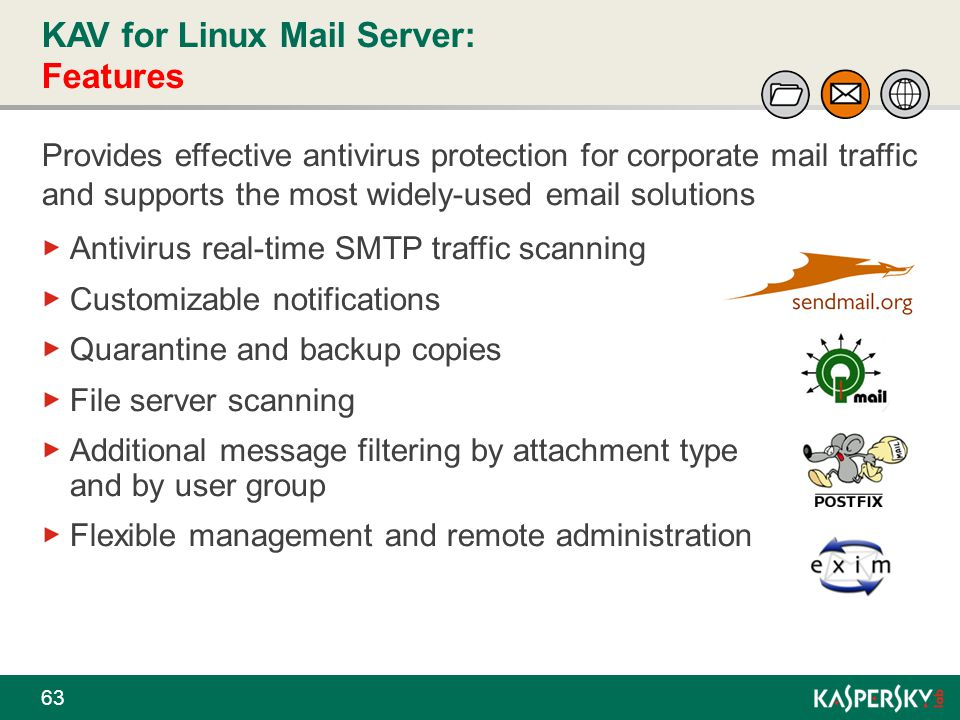 KAV for Linux Mail Server: Features