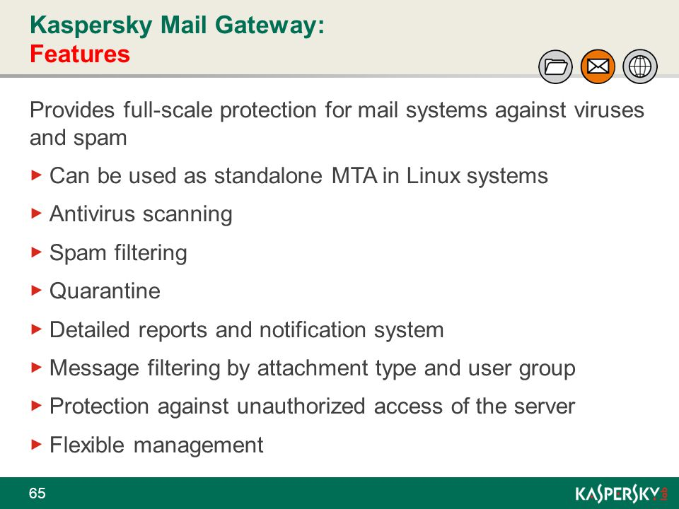 Kaspersky Mail Gateway: Features