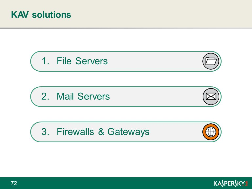KAV solutions File Servers Mail Servers Firewalls & Gateways