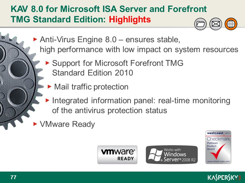 KAV 8.0 for Microsoft ISA Server and Forefront TMG Standard Edition: Highlights