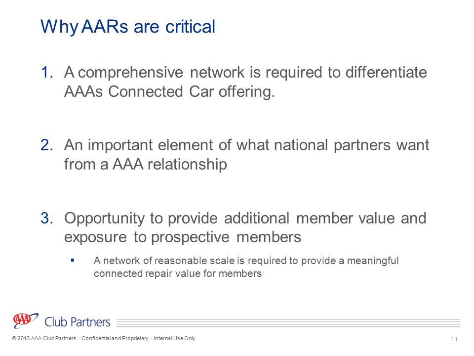 Why AARs are critical A comprehensive network is required to differentiate AAAs Connected Car offering.