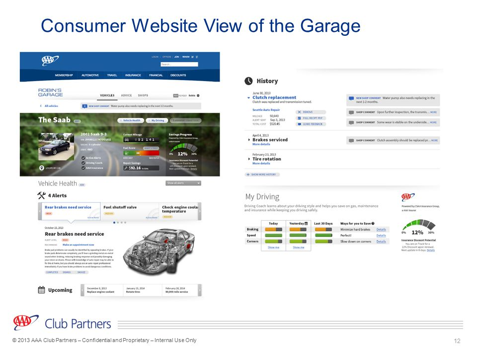 Consumer Website View of the Garage