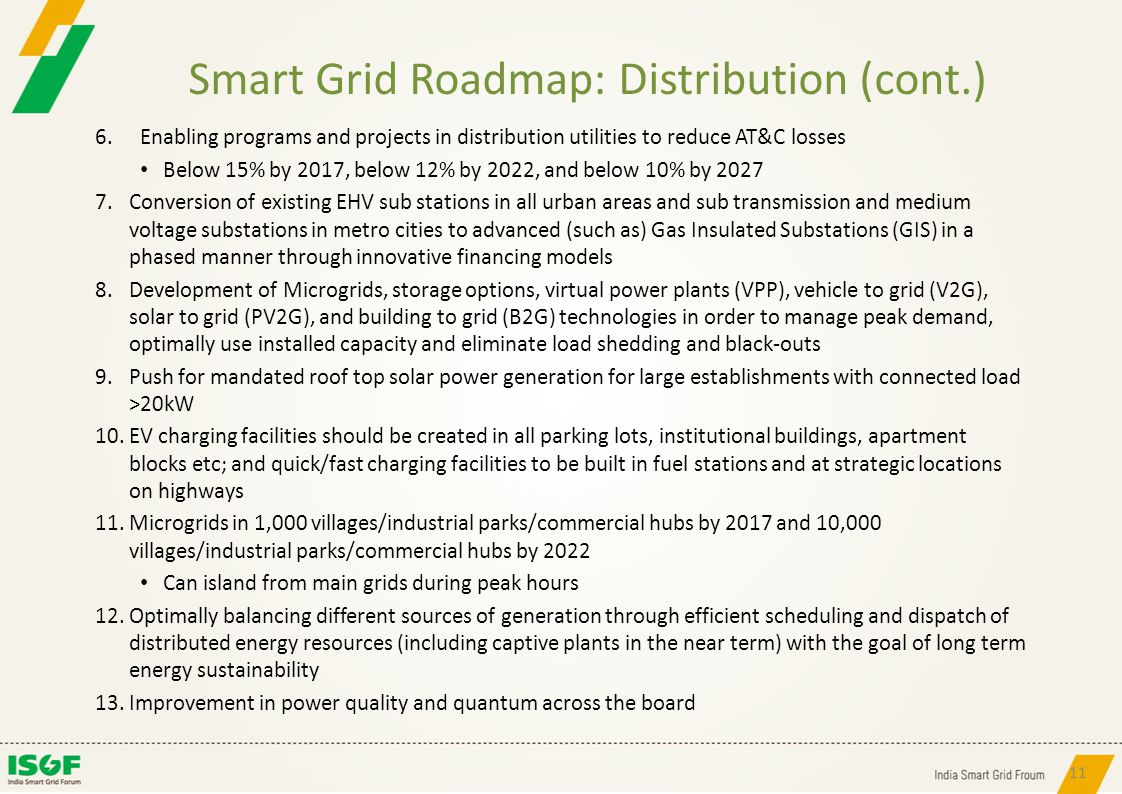 Smart Grid Roadmap: Distribution (cont.)