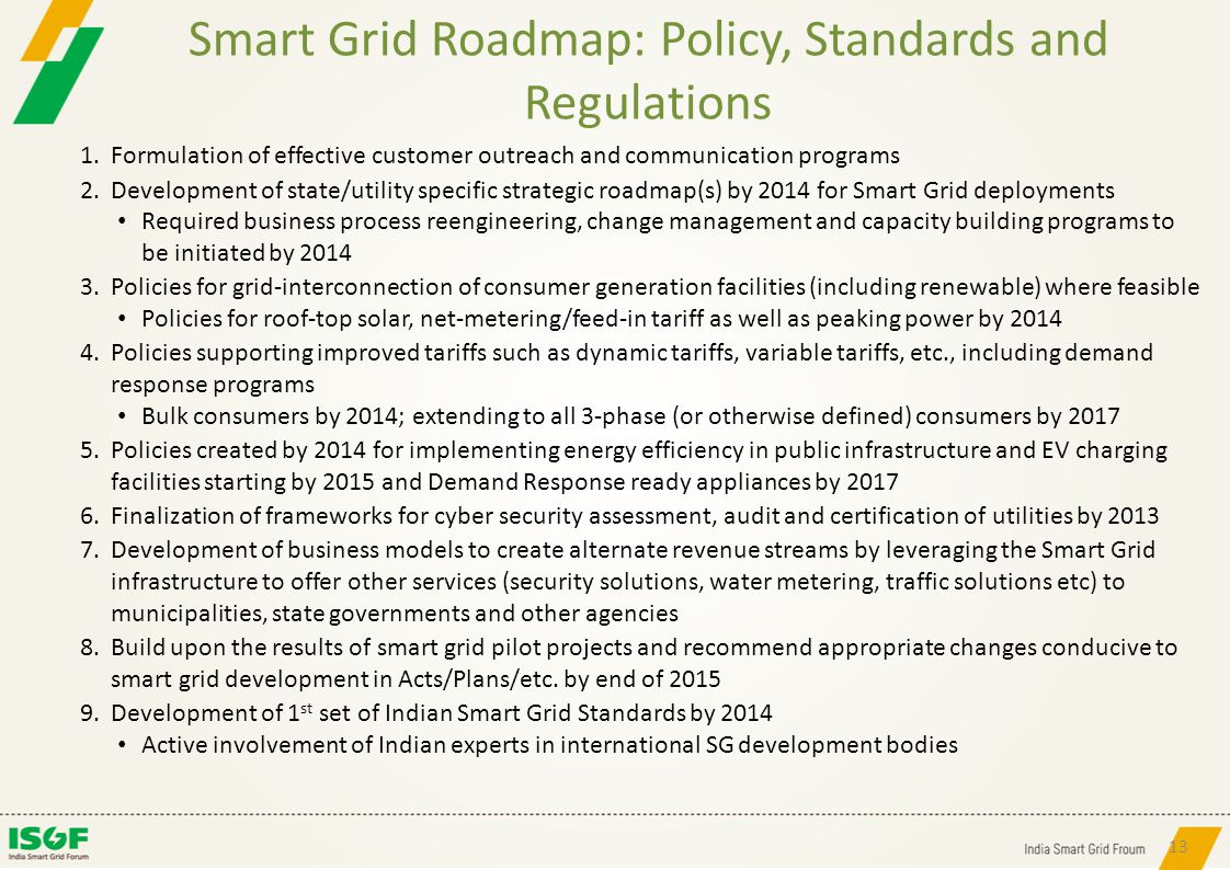 Smart Grid Roadmap: Policy, Standards and Regulations