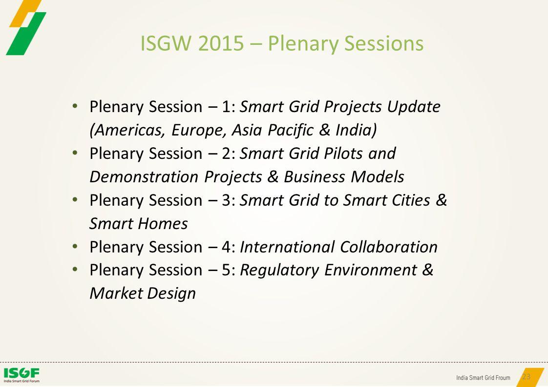ISGW 2015 – Plenary Sessions