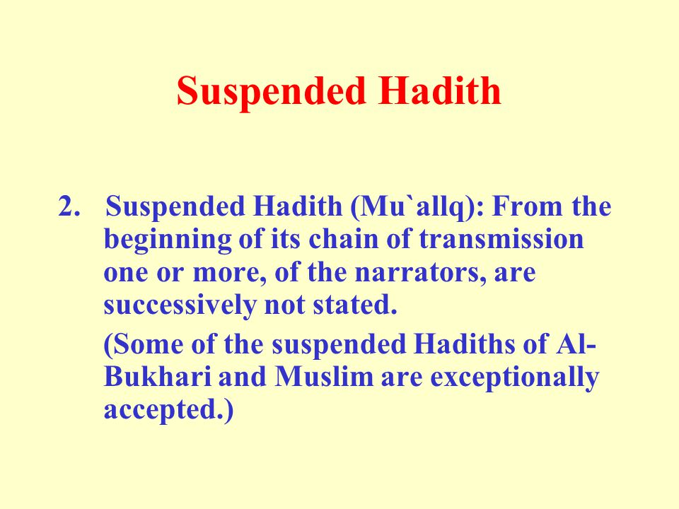 Suspended Hadith