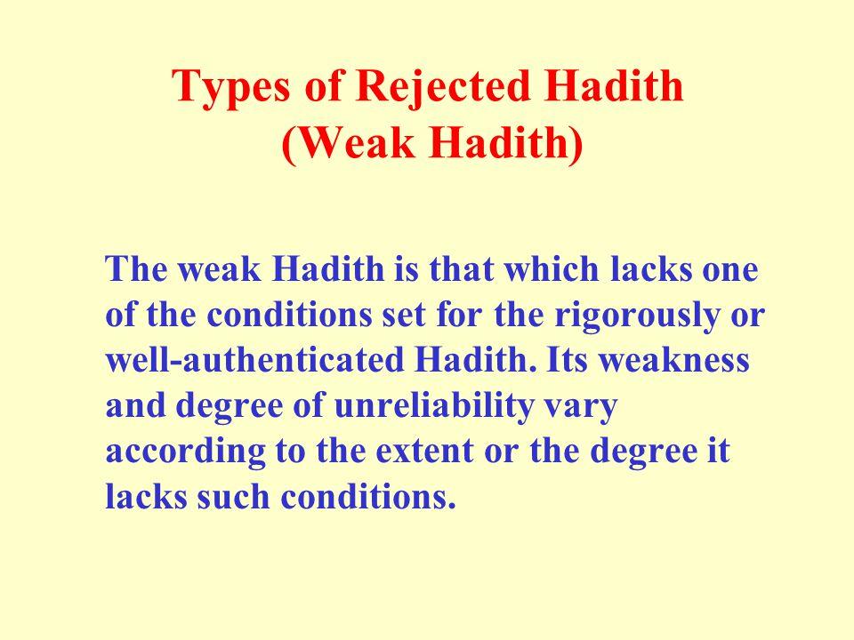 Types of Rejected Hadith (Weak Hadith)