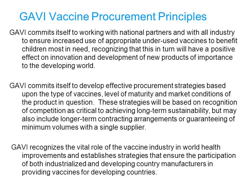 GAVI Vaccine Procurement Principles