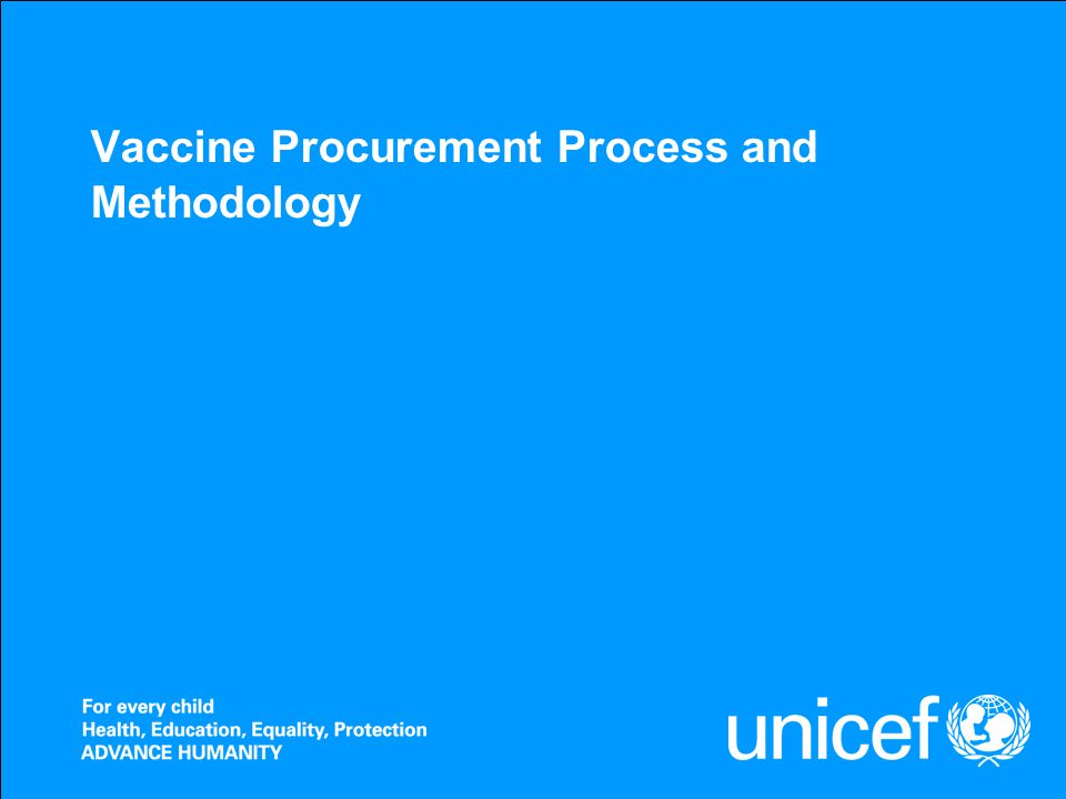 Vaccine Procurement Process and Methodology