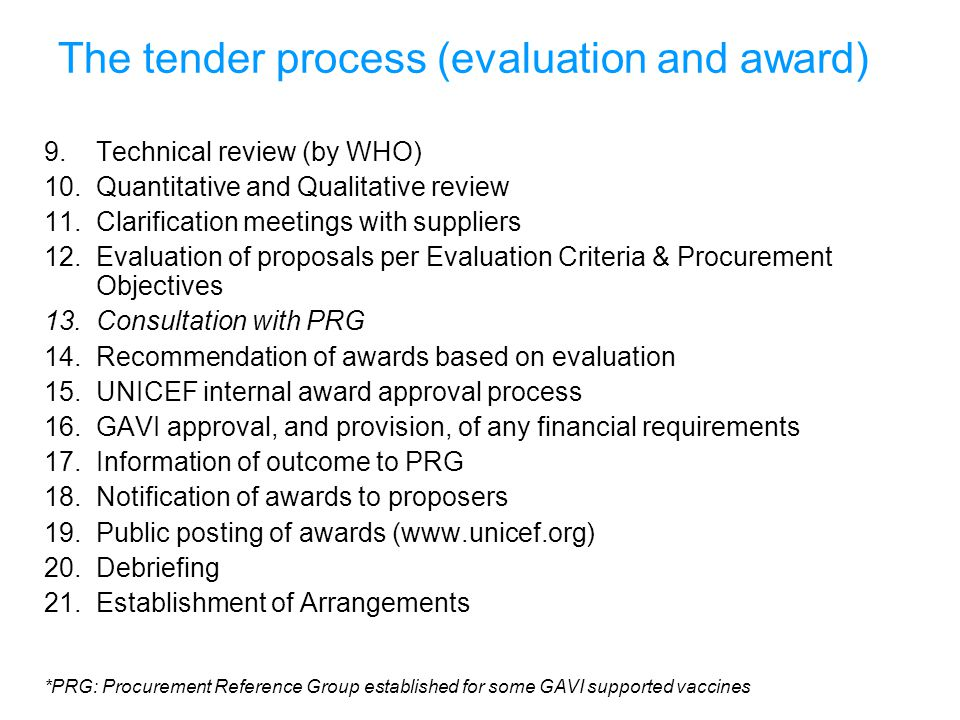 The tender process (evaluation and award)