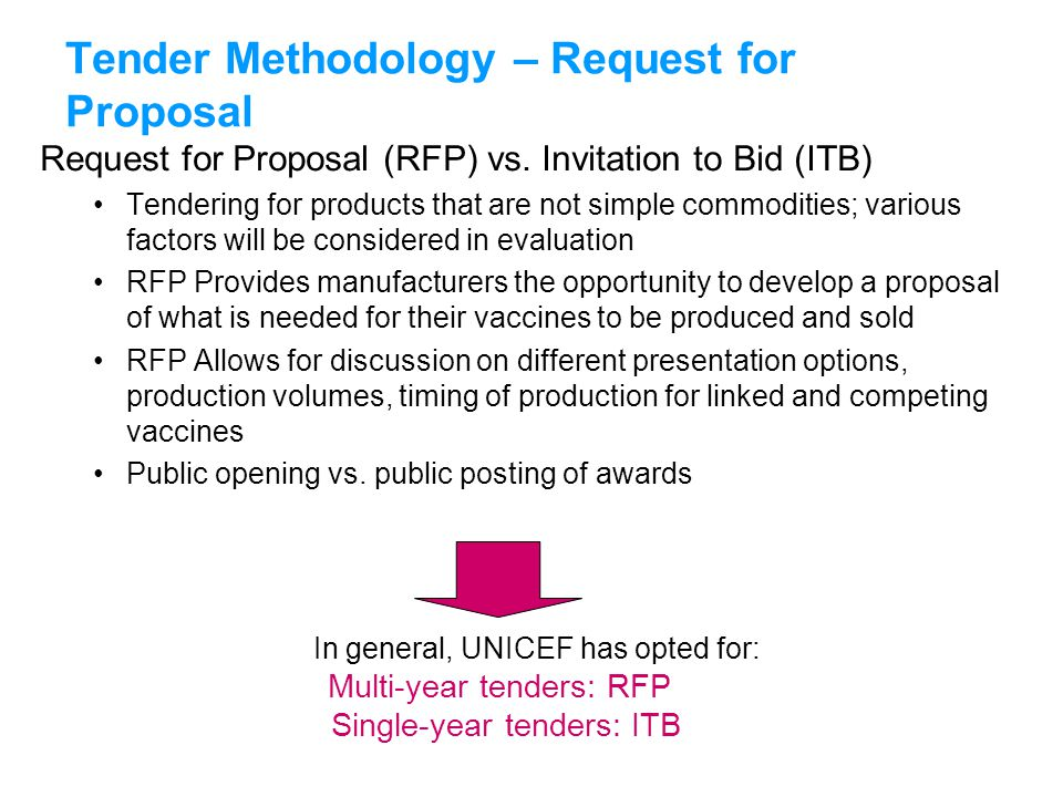 Tender Methodology – Request for Proposal