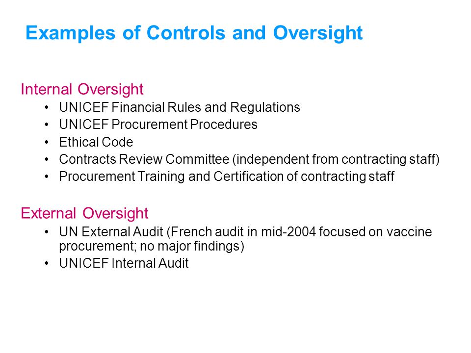 Examples of Controls and Oversight