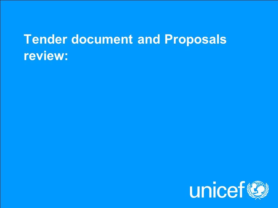 Tender document and Proposals review: