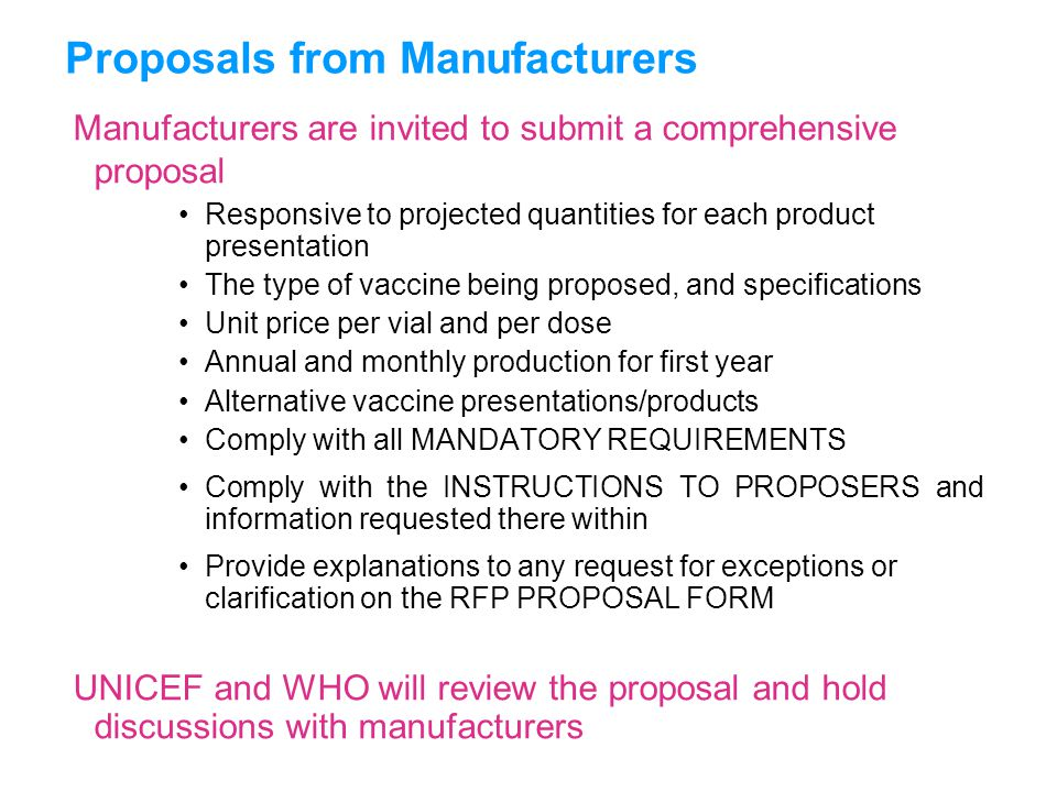 Proposals from Manufacturers