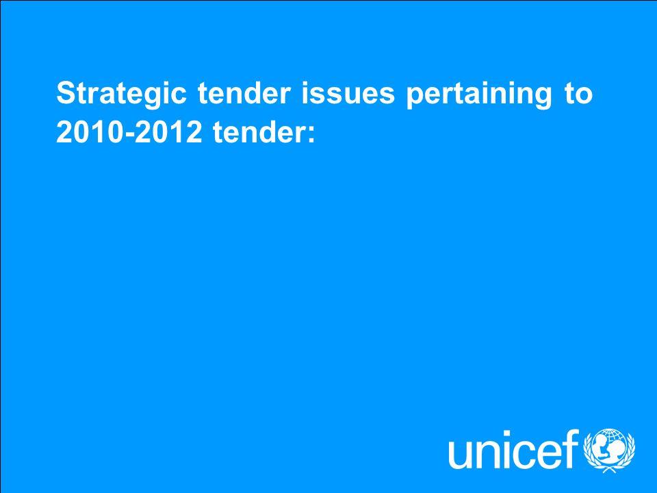 Strategic tender issues pertaining to 2010-2012 tender: