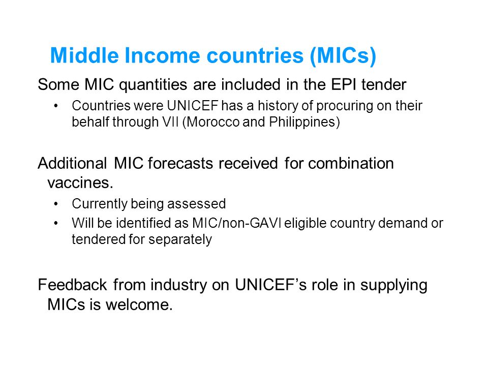 Middle Income countries (MICs)